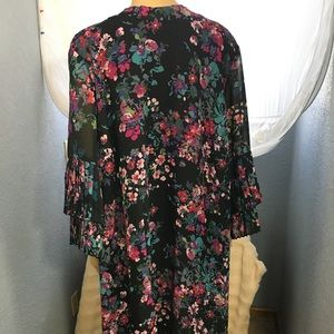 Sharagano Dress 20W Black with Pink Floral NWT